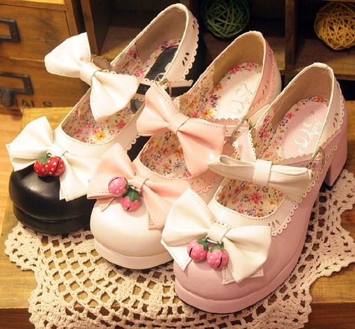 Pink Pastel School Girl Anime Kawaii Japanese Strawberry Forest Lolita Heels