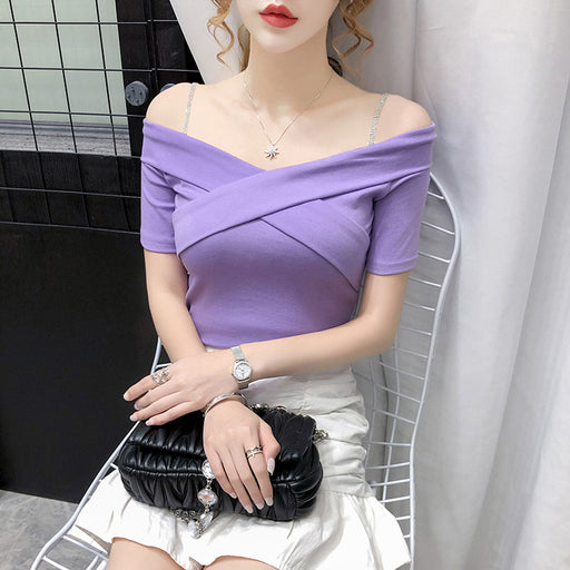 Korean Elegant Lavender Top