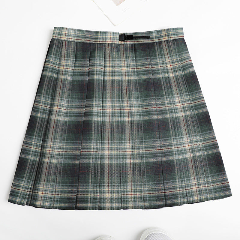 Kawaii pleated plaid high-waist skirt