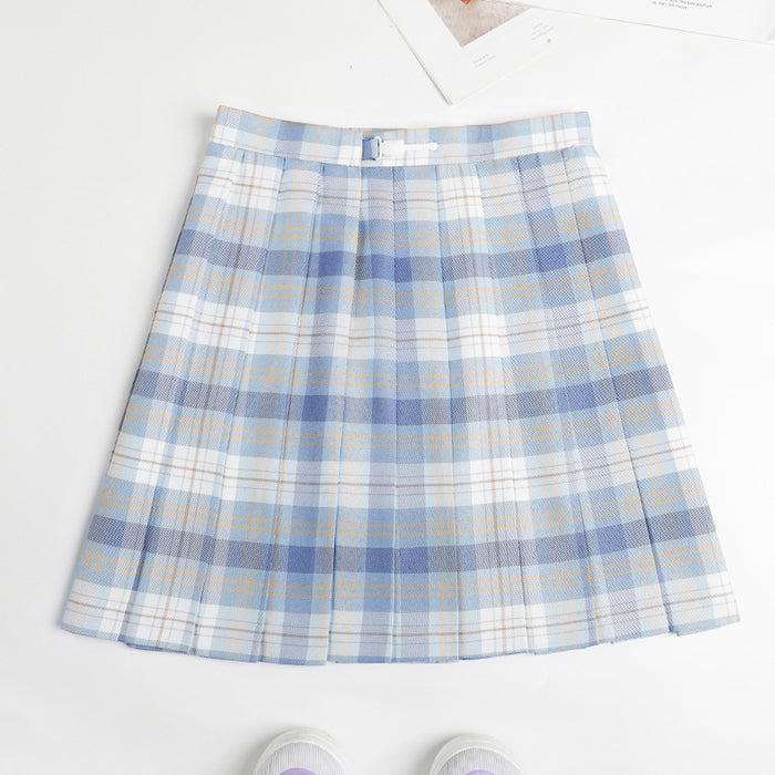 Japanese ice cream pleated skirt plaid skirt