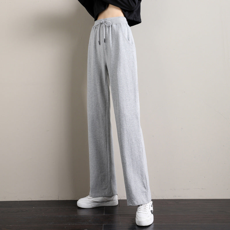 Grey high-rise straight-leg pants