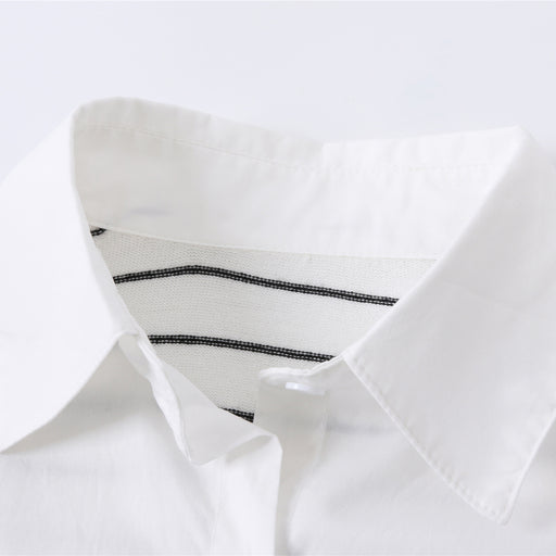 Striped knitted stitching loose fake two shirts