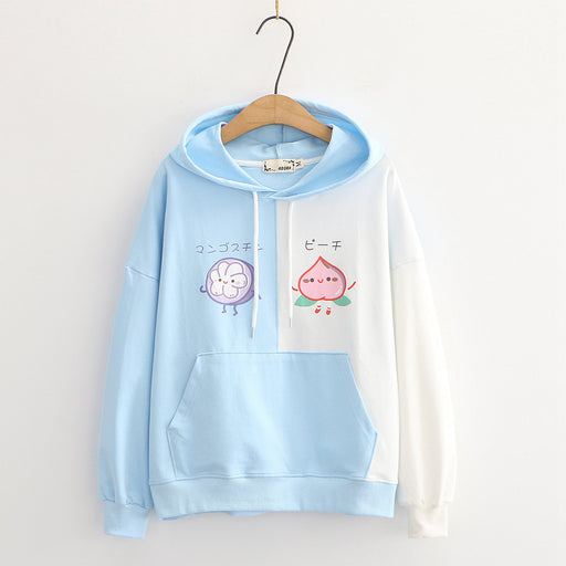 Kawaii Japanese fresh and sweet Japanese fruit hooded loose Hoodie