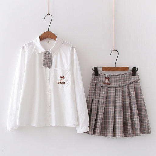Japanese shirt + pleated skirt two-piece suit