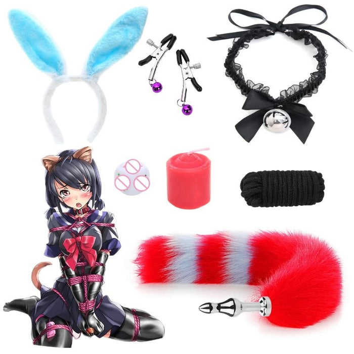 Sofyee Rabbit Ears Fox Tail SM Game Adult Sex Toys-7 Piece Set