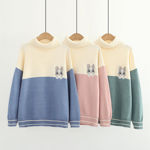 Japanese casual sweet turtleneck sweater