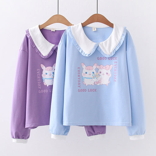 Kawaii Japanese fresh and sweet velvet sweater doll collar loose cat Sweatshirt