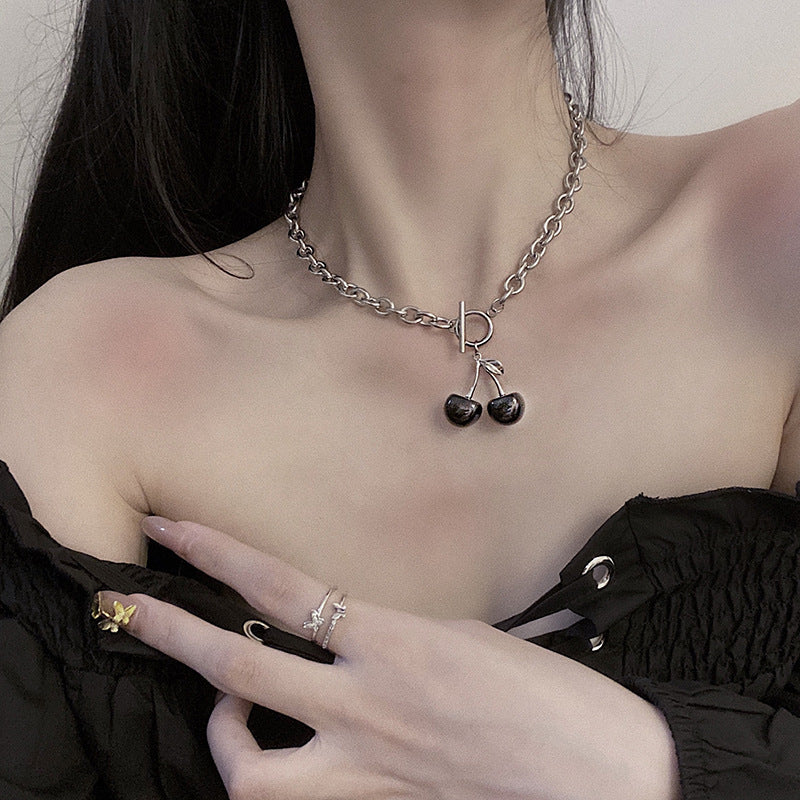 Korean black cherry punk style OT buckle necklace clavicle chain