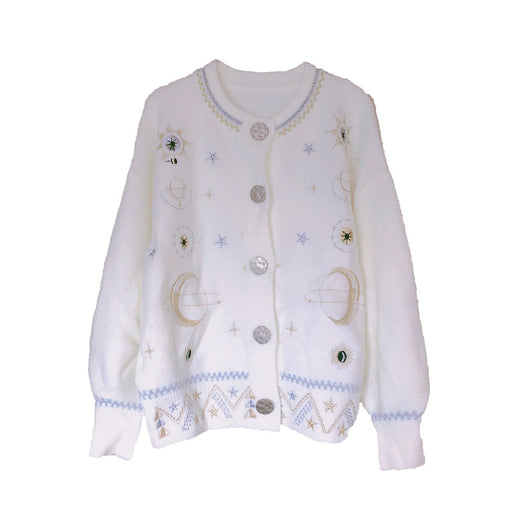 Ladies style round neck embroidered stars and moon pattern fashion all-match loose knit cardigan jacket