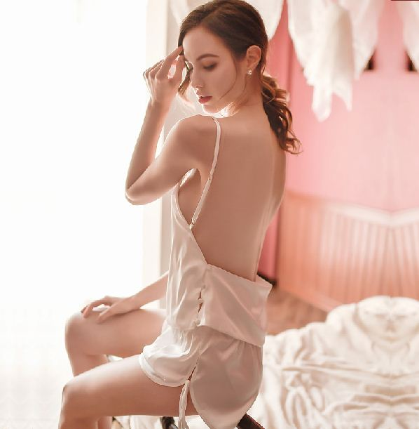 Underwear Backless Deep V Sexy Satin Suit Shorts Pajamas Suspenders Lace Large Size Home Service