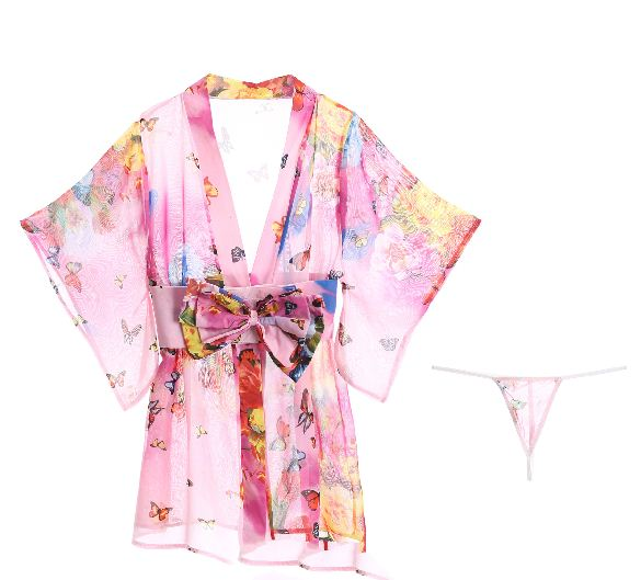 Erotic Underwear Printed Bathrobe New Nightdress Perspective Sexy