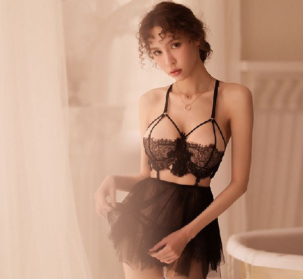 Sexy Chest Underwear Temptation Perspective Set Nightdress Openwork Lace