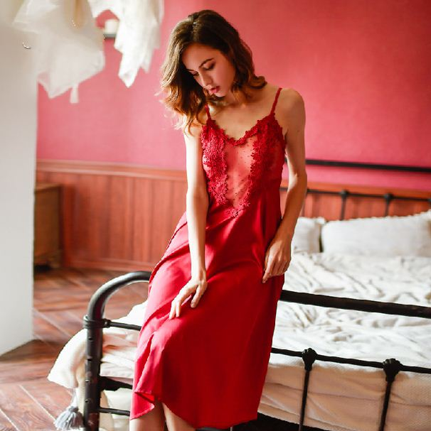 Rose Cross-Country Simulation Silk Pajamas Long Sexy Straps Nightdress Summer Large Size