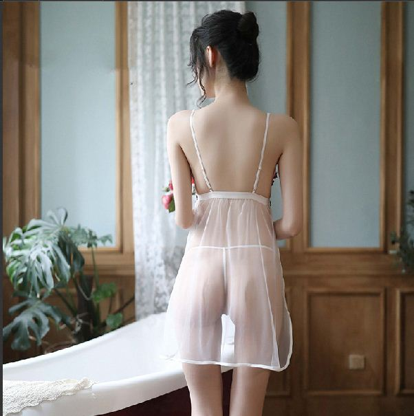 Temptation Underwear Side Slit Sling Mesh Nightdress Transparent Sexy Pajamas Set