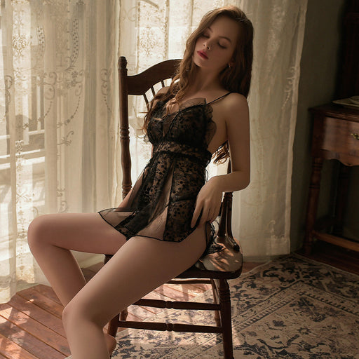 Sexy Mesh Sling Lace Fungus Lace Short Skirt Nightdress