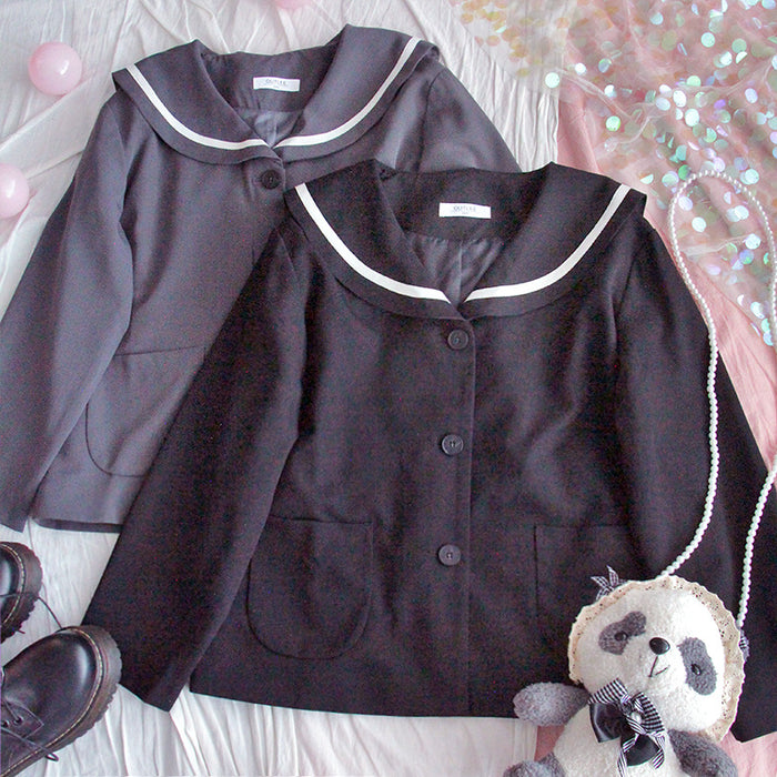 Japanese cute navy suit jacket