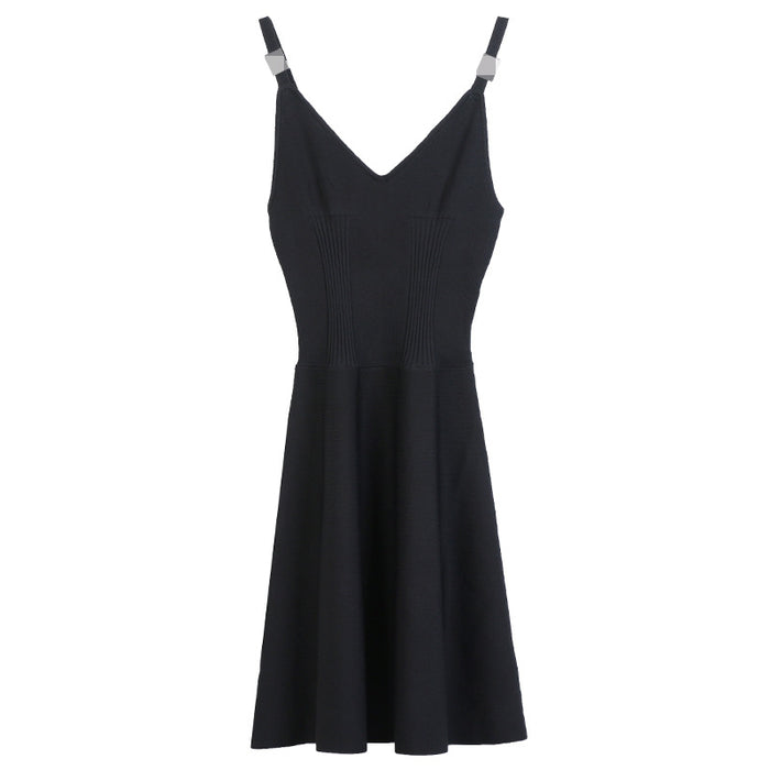 Sexy slim black stitching strap mid-length knitted dress
