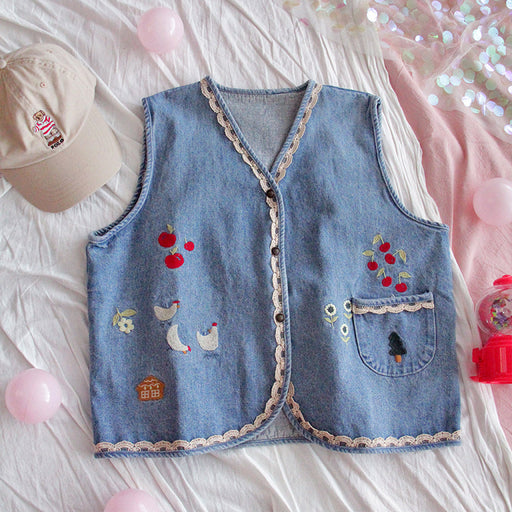 Cute forest embroidered soft girl short denim vest