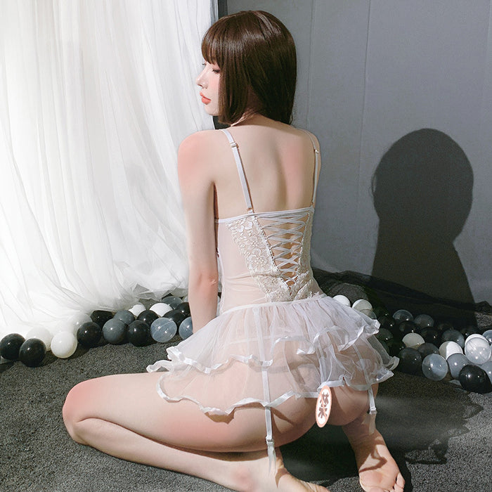 Kawaii sexy see-through lace halter temptation mesh skirt suspender pajamas