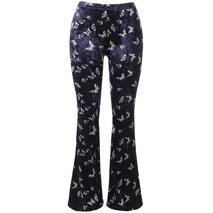 Dark retro high waist is thin and drape butterfly print casual girl wide-leg pants
