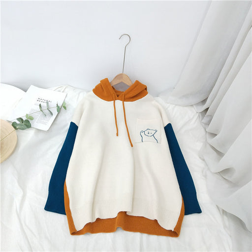 Color Block Hoodie Sweater