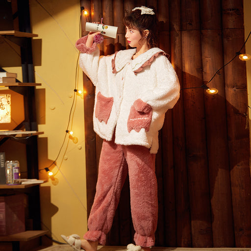kawaii thickened plus flannel home service suit