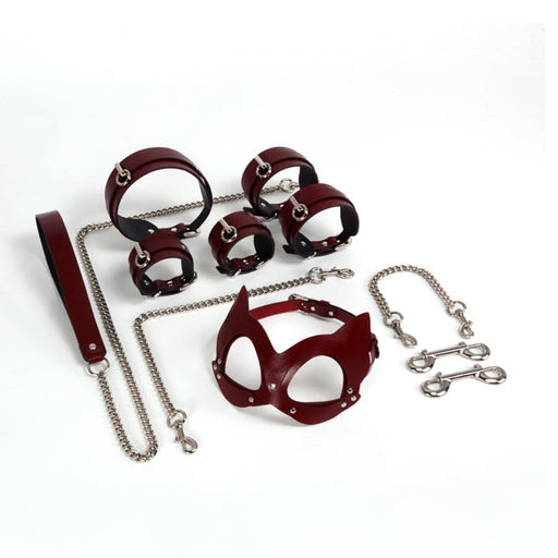 Bdsm Genuine Leather Fox Mask Sex Toys-7Pcs Set