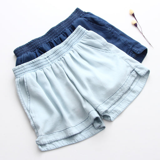 Drawstring Denim Shorts - sofyee