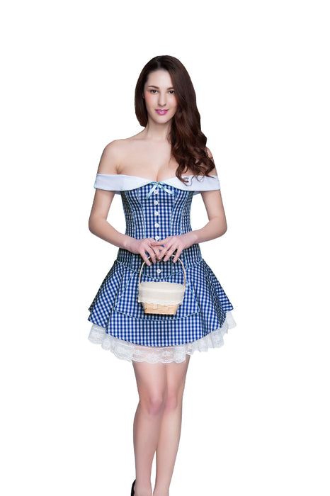 Vocado-One-neck Plaid Slimming Fashion Dress Lace Corset