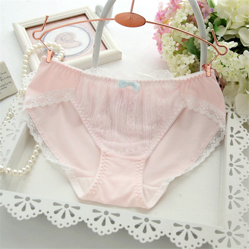 Eyelash Lacy Bow Girly Kawaii Sweetie Heart Underwear Panty