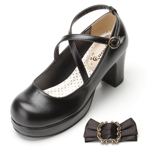 School Girl  Japanese Amine Bow Lost In The Mori Lolita Heels