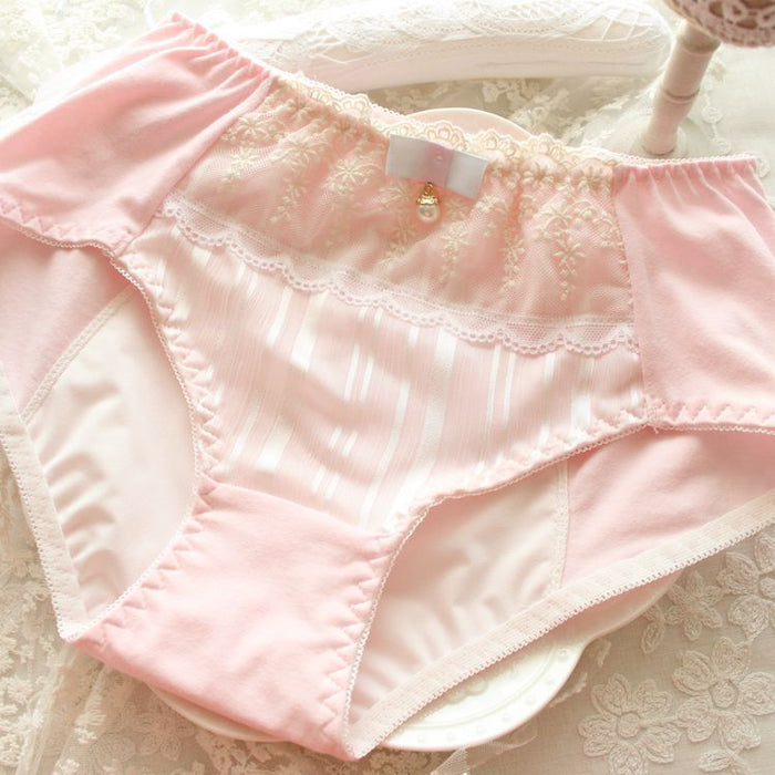 Candy Color Pearl Decoration Cute Lace Sweetie Panty