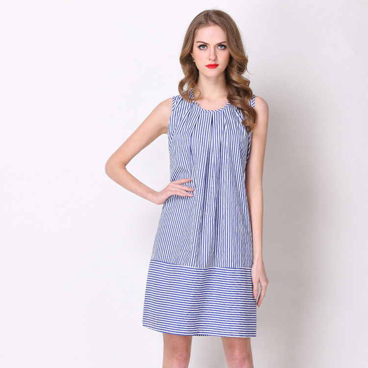 Stripe Storm Pleated Dress - sofyee