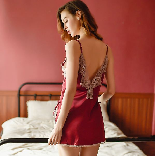 Sexy Pajamas Lace Embroidery Deep V Open Back Temptation Sling Big Size Nightdress