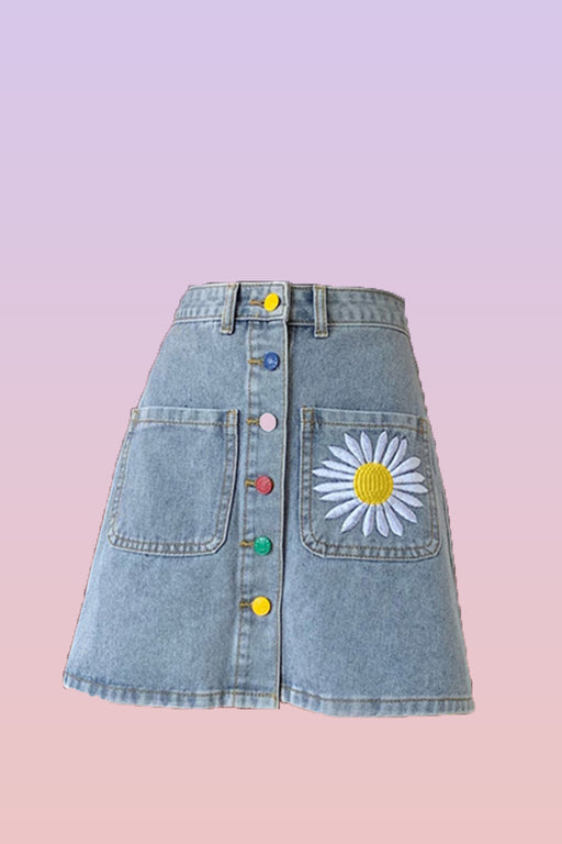 Daisy embroidered high waist A-line denim skirt