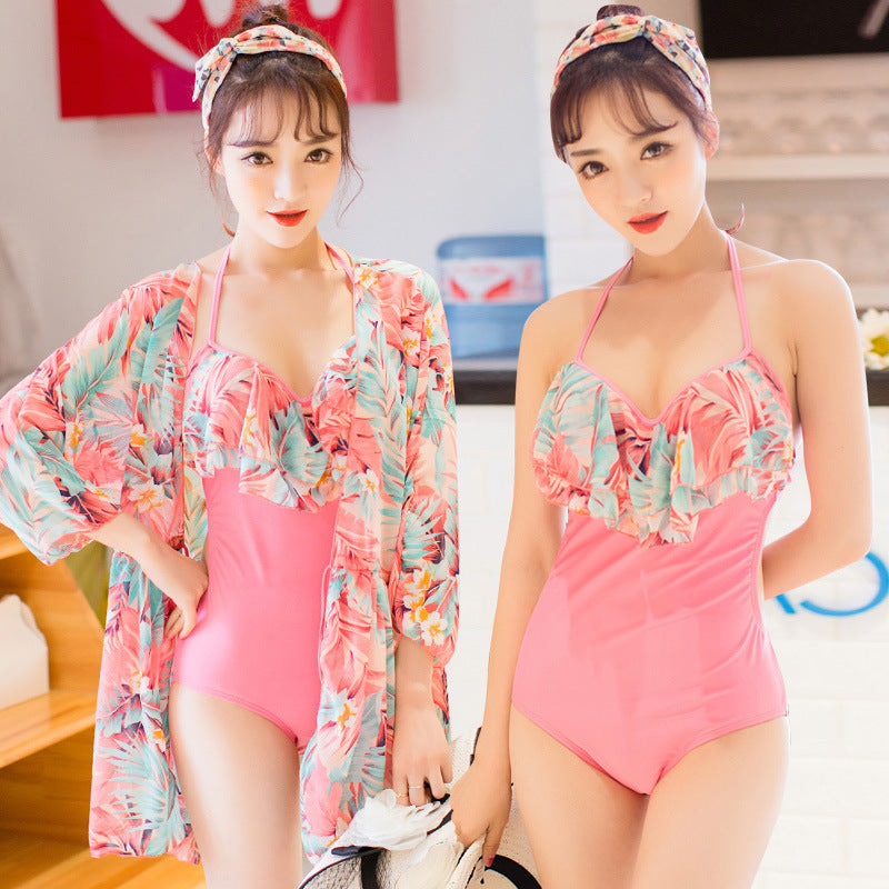 Flower Ruffle Cute One Piece Cover Up Swimsuit Set