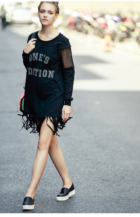 City Walk Tassel Letter Printed Sweatshirt Dress