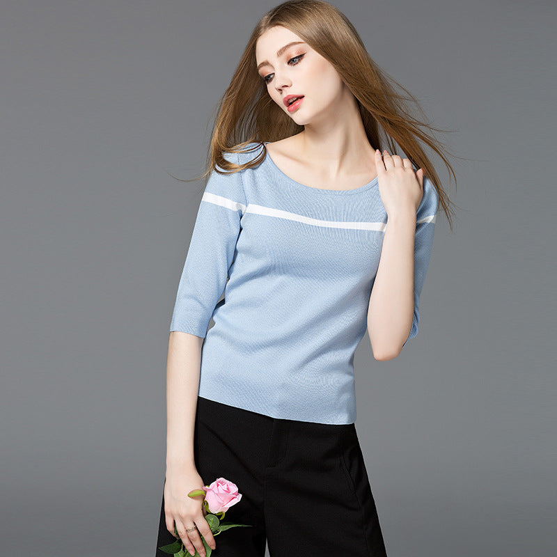 Color Block Fine-Knit Sccop Neck T-Shirt