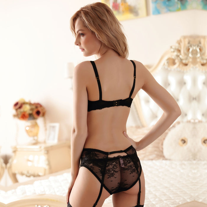 Bow-Tie Sheer Mesh Balconette Bra