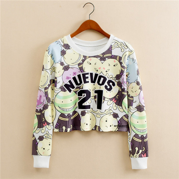 Anime Emoji Harajaku Printed Graphic Aesthetic Cropped Sweatshirt