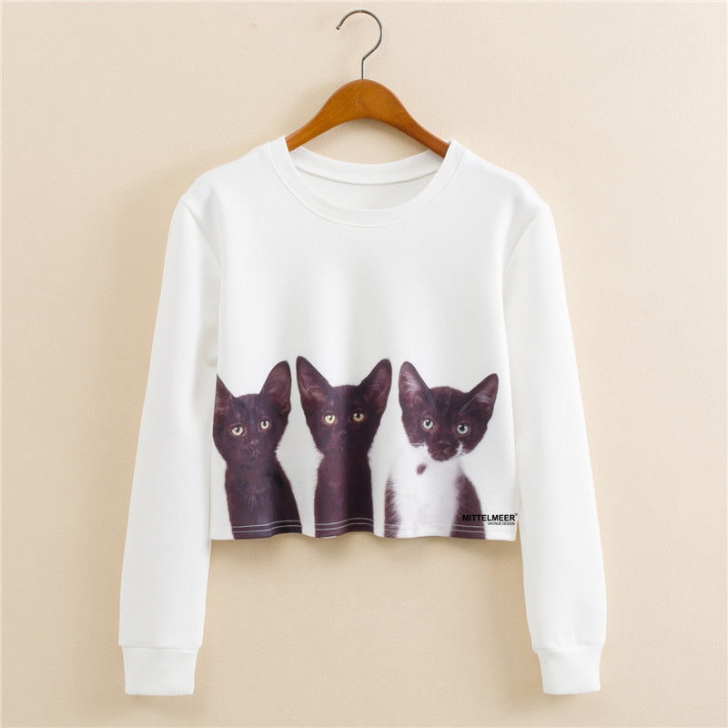 Anime Japanese Printed Cat Graphic Aesthetic Cropped Sweatshirt