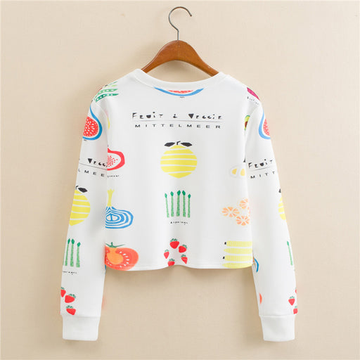 Anime Fruit Applepine Strawberry Graphic Aesthetic Cropped Sweatshirt