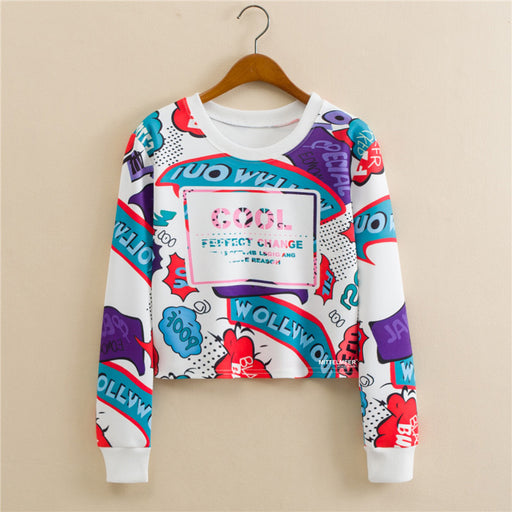 Anime Cool Harajaku Printed Graphic Aesthetic Cropped Sweatshirt