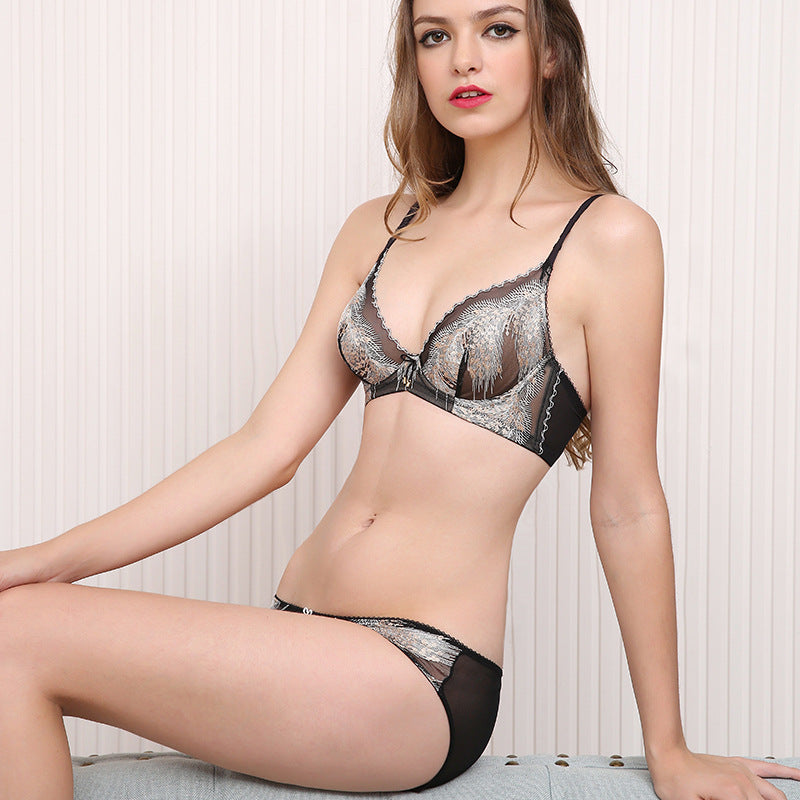 176d8eb714 Cute Fur Lace Push Up Bra   Panty Set - sofyee