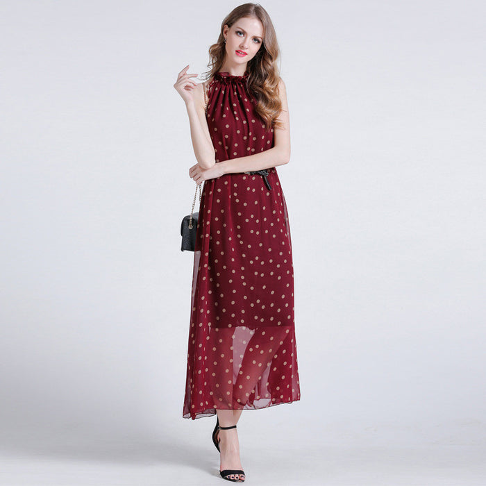 Love Coin Dot Ruffle Neck Belted Maxi Dress - sofyee