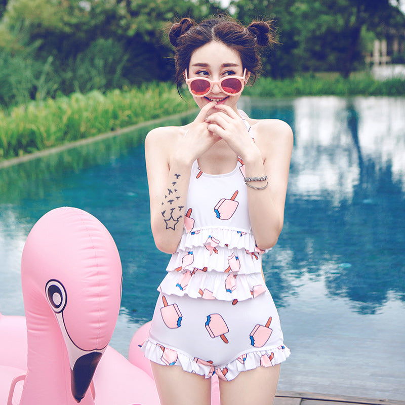 Girly Ice Cream Summer Ruffle Candy Color Japanese Kawaii Modest One Piece Swimsuit