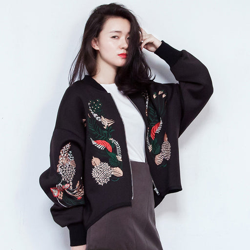 Swan Embroidered Baseball Jacket