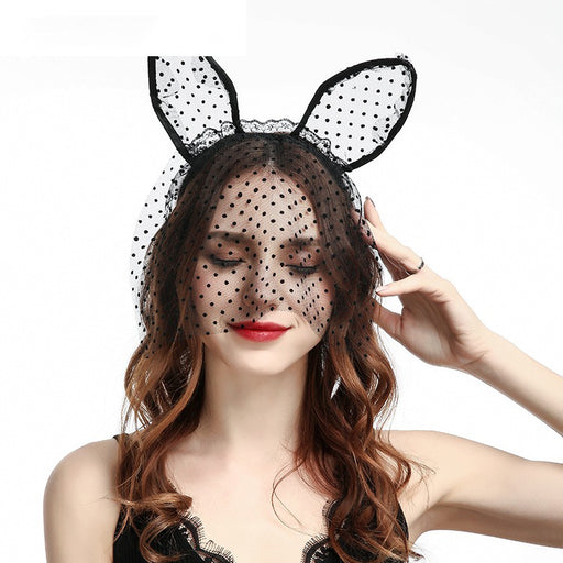 Kawaii Lace Cat ear Headband With Veil Headband