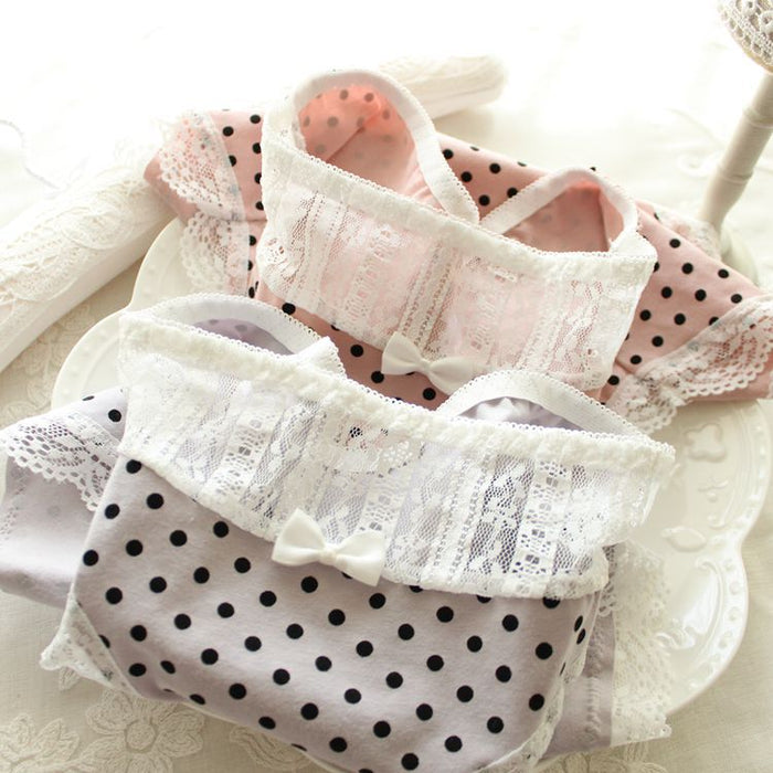Lace Polka Dots Cute Lace Sweetie Heart Panty