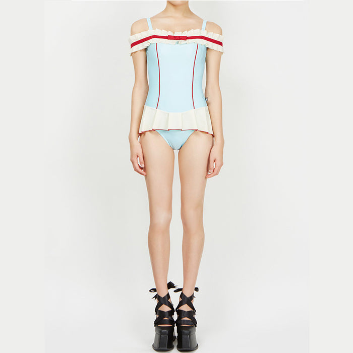 Sky Blue Candy Color Ruffle Cute Sweet One Piece Swimsuit